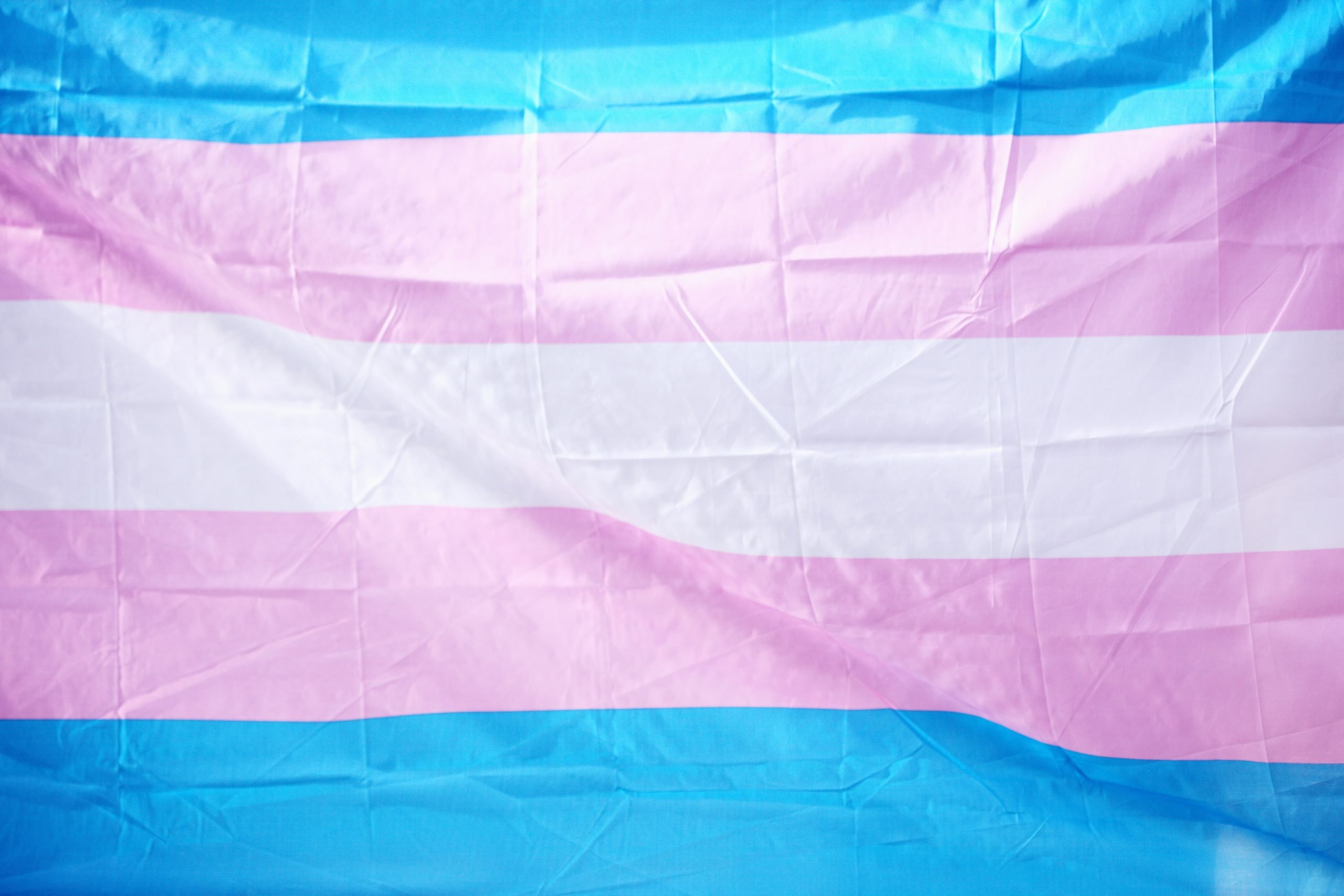 Image of pink, blue and white horizontally striped flag