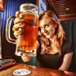 Woman holds beer towards camera