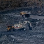 Open cast coal mine with machinery
